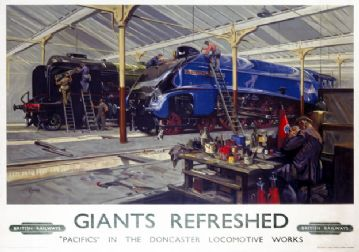 Giants Refreshed, Doncaster, Yorkshire. BR Vintage Travel Poster by Terence Cuneo. 1947